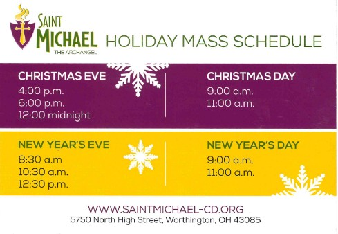 Upcoming December Mass Schedule for Holy Days