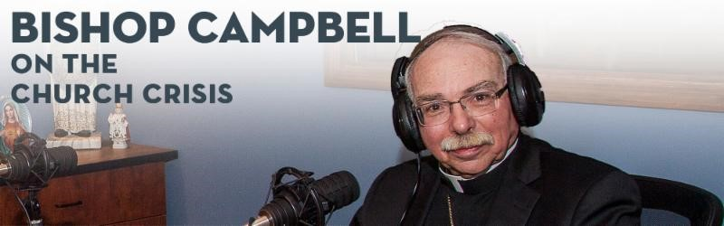 close up of Bishop Campbell going live on webinar