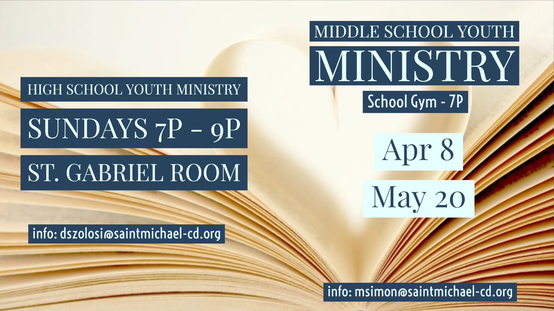 high school and middle school youth ministries times and dates